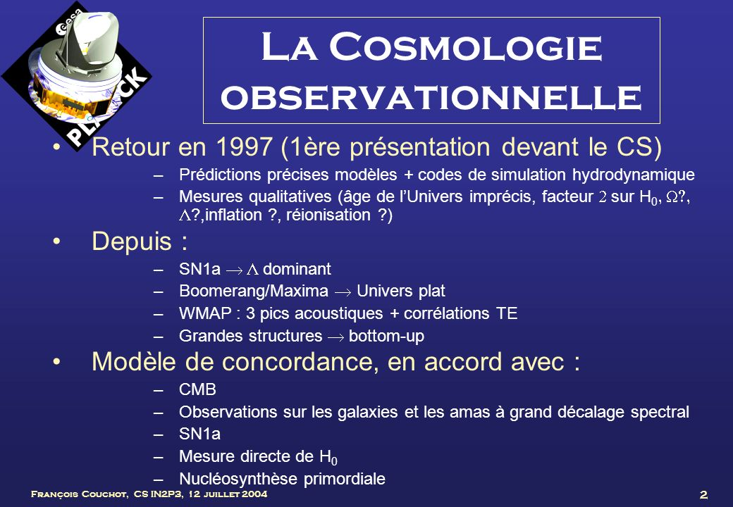 La Cosmologie observationnelle