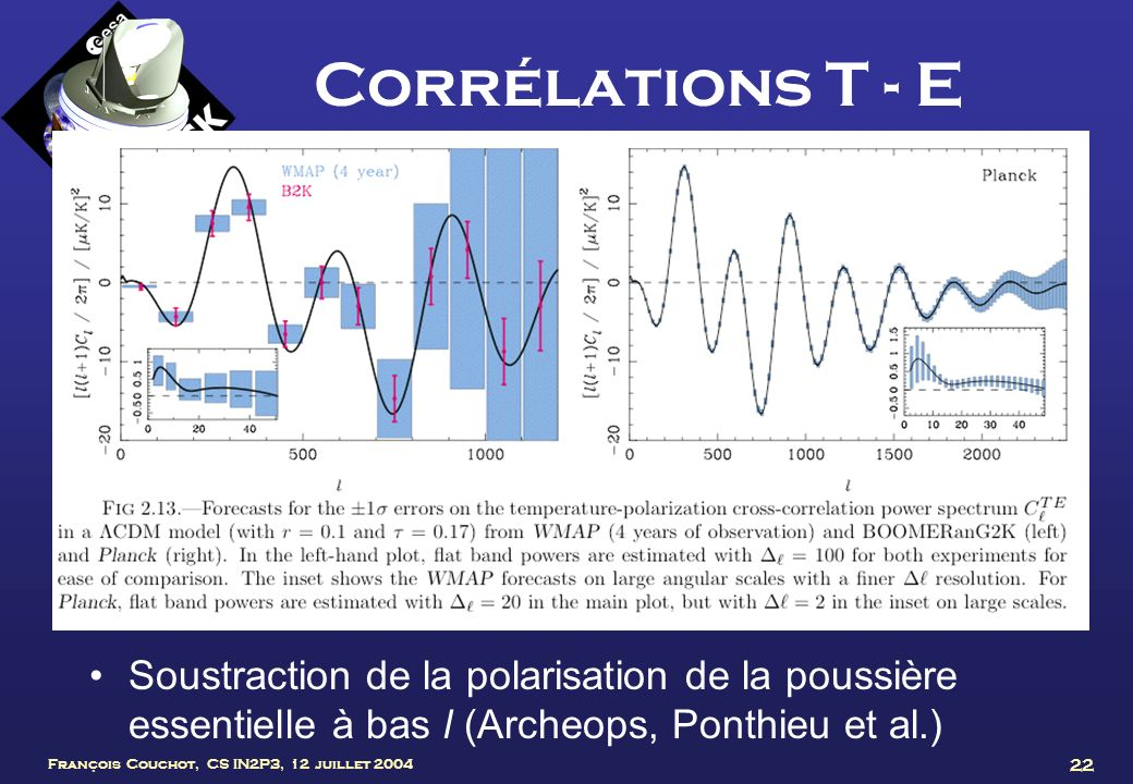 Corrélations T - E Soustraction de la polarisation de la poussière essentielle à bas l (Archeops, Ponthieu et al.)