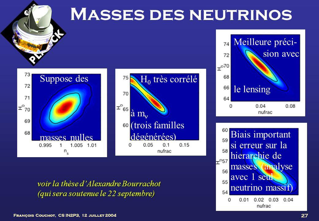 Masses des neutrinos Meilleure préci- sion avec le lensing Suppose des