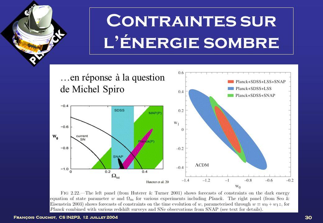 Contraintes sur l'énergie sombre