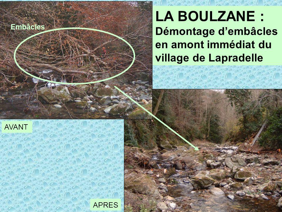 LA BOULZANE : Démontage d'embâcles en amont immédiat du village de Lapradelle