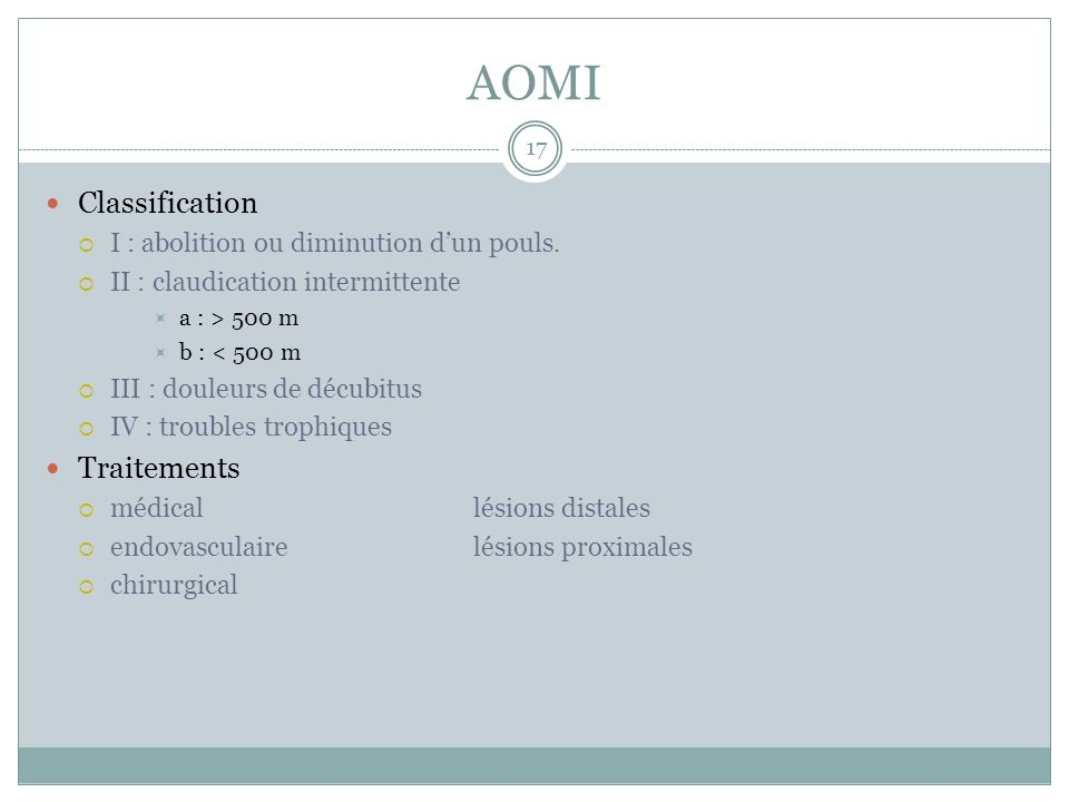 AOMI Classification Traitements