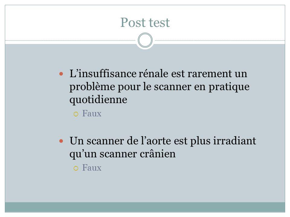 Post test L'insuffisance rénale est rarement un problème pour le scanner en pratique quotidienne. Faux.