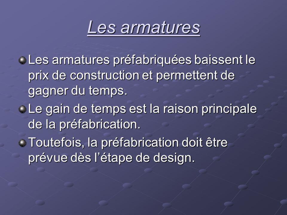 Les armatures Les armatures préfabriquées baissent le prix de construction et permettent de gagner du temps.