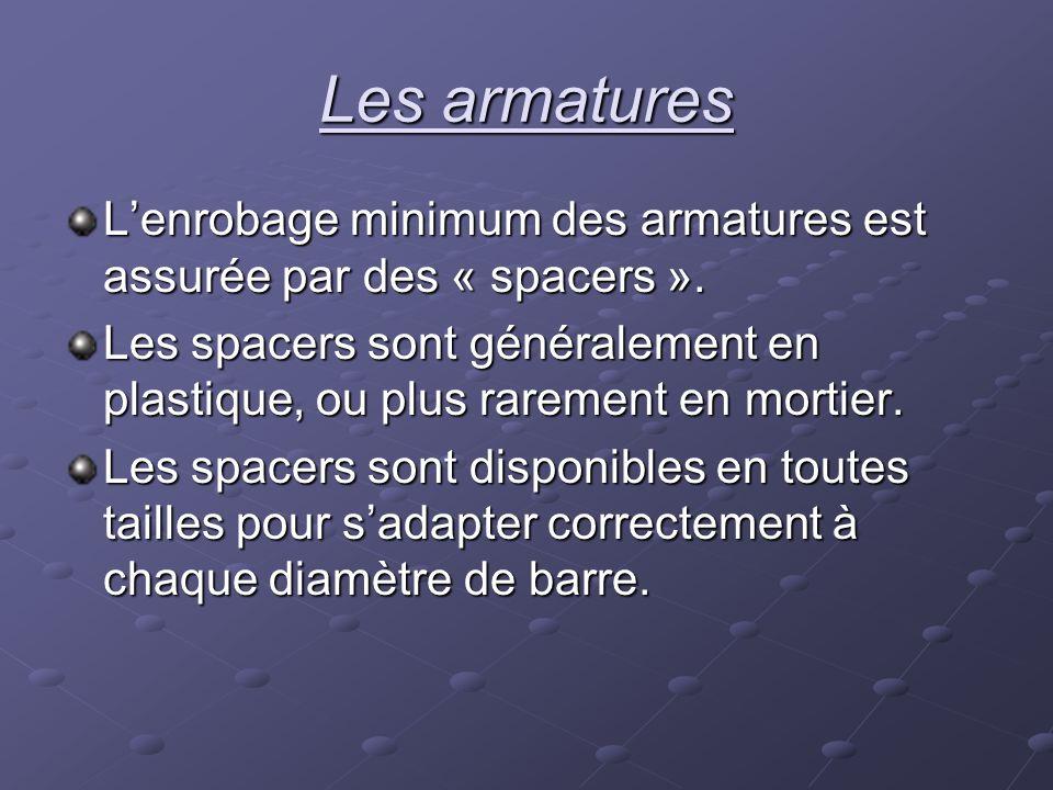 Les armatures L'enrobage minimum des armatures est assurée par des « spacers ».