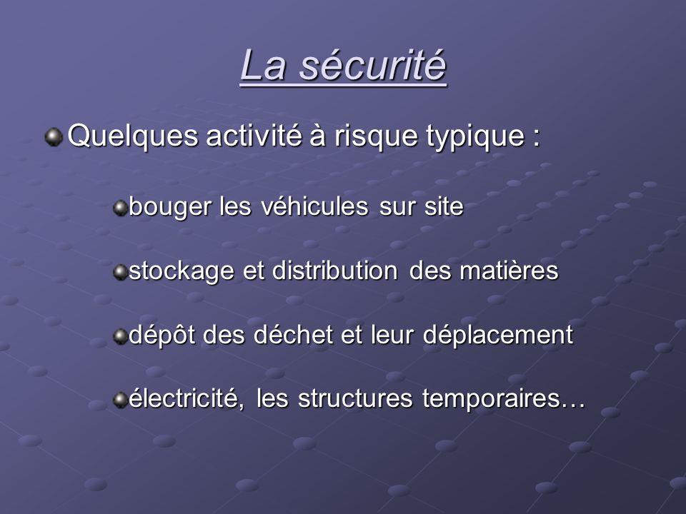 La sécurité Quelques activité à risque typique :