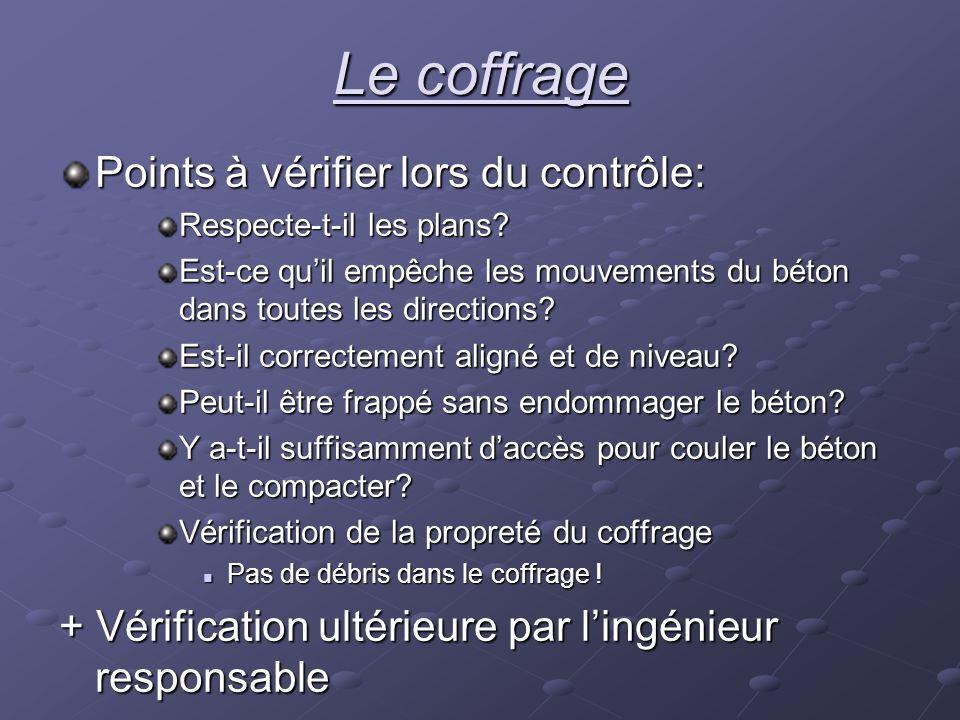 Le coffrage Points à vérifier lors du contrôle: