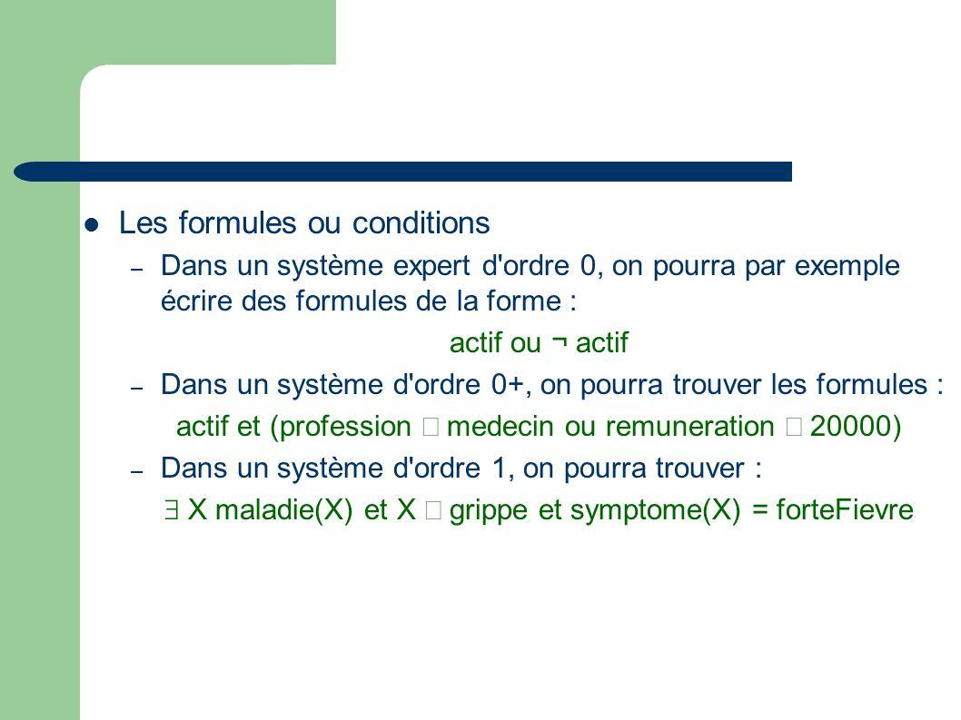 Les formules ou conditions