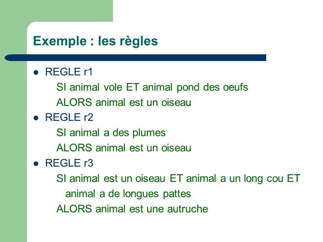 Exemple : les règles REGLE r1 SI animal vole ET animal pond des oeufs