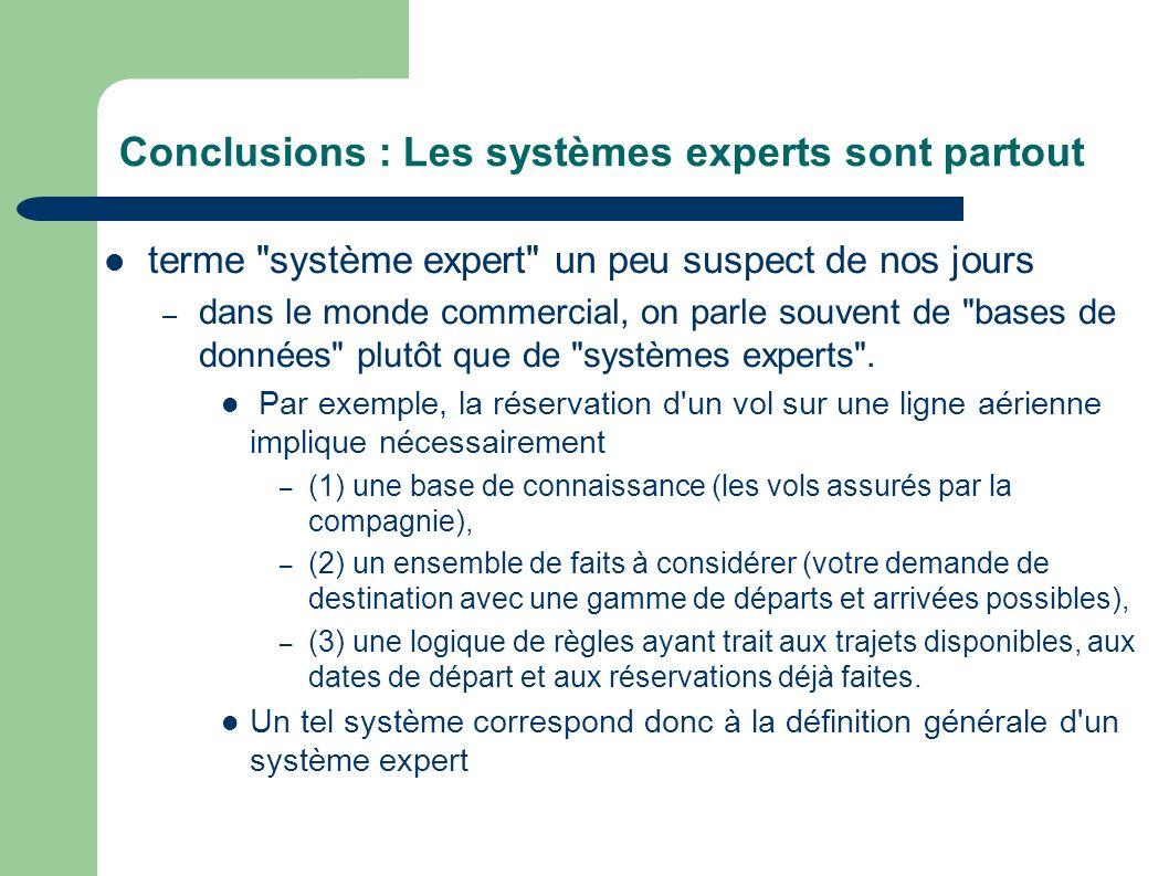 Conclusions : Les systèmes experts sont partout