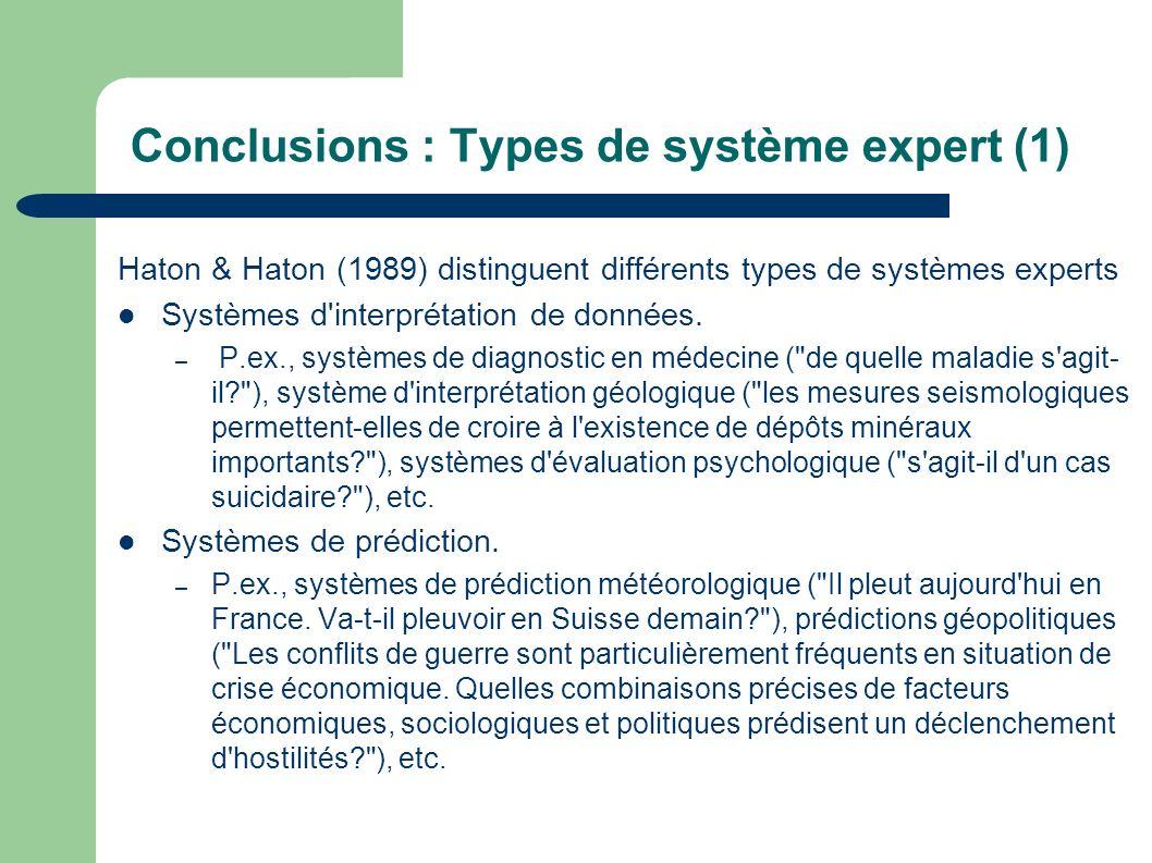 Conclusions : Types de système expert (1)