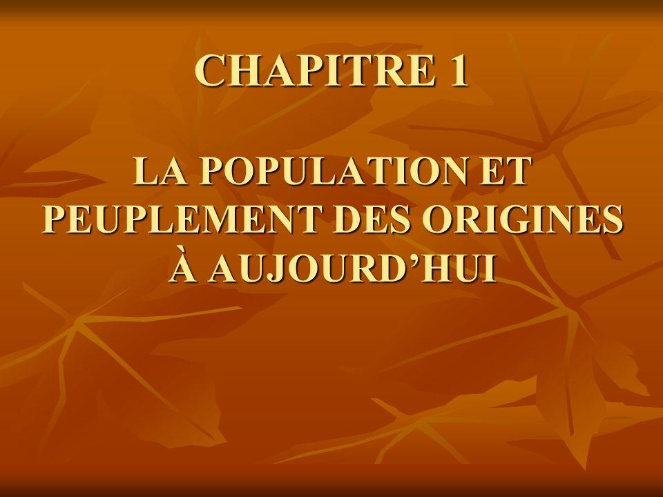 CHAPITRE 1 LA POPULATION ET PEUPLEMENT DES ORIGINES À AUJOURD'HUI