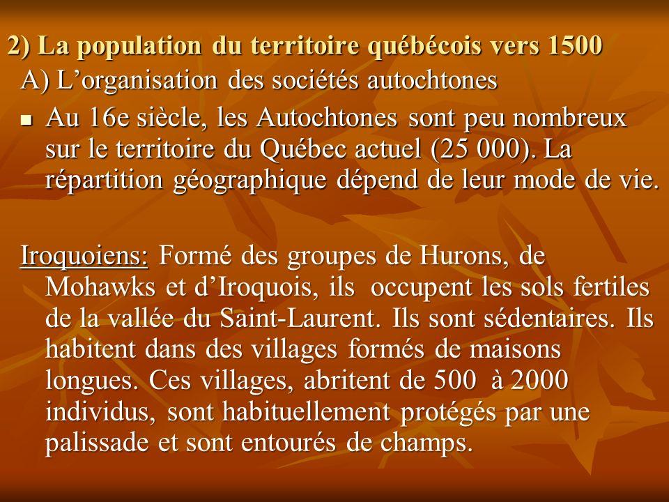 2) La population du territoire québécois vers 1500