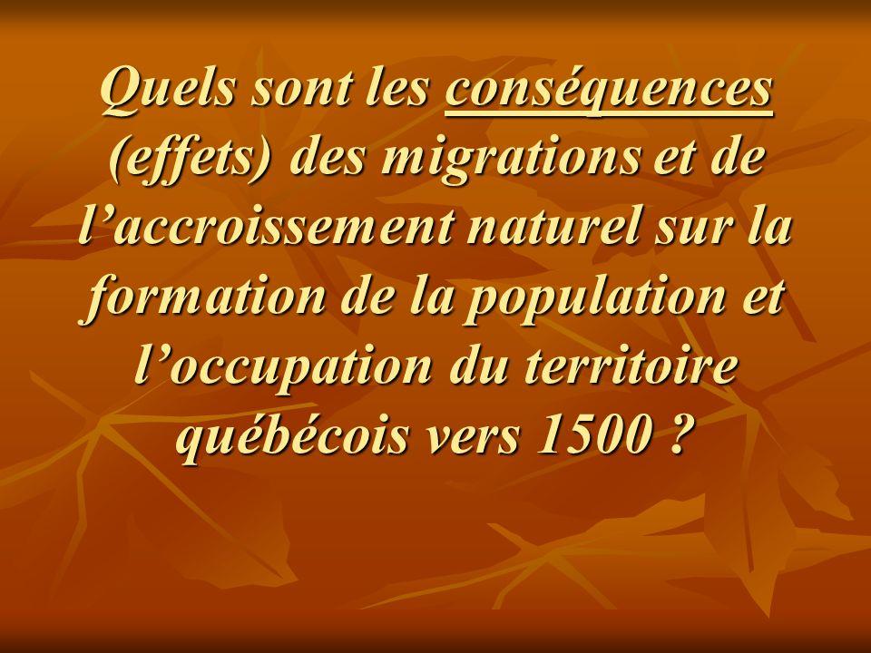 Quels sont les conséquences (effets) des migrations et de l'accroissement naturel sur la formation de la population et l'occupation du territoire québécois vers 1500