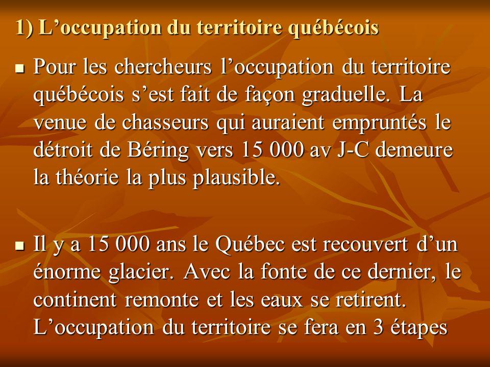 1) L'occupation du territoire québécois