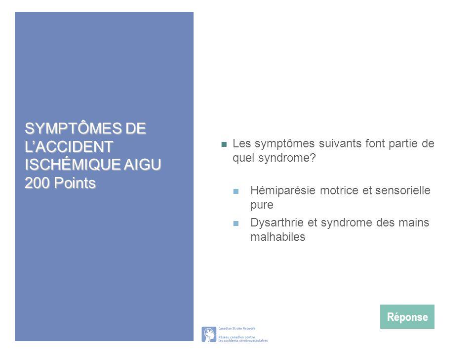 SYMPTÔMES DE L'ACCIDENT ISCHÉMIQUE AIGU 200 Points