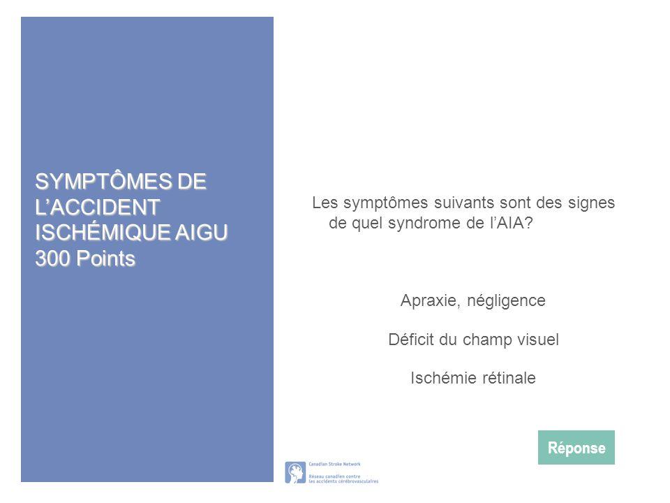 SYMPTÔMES DE L'ACCIDENT ISCHÉMIQUE AIGU 300 Points