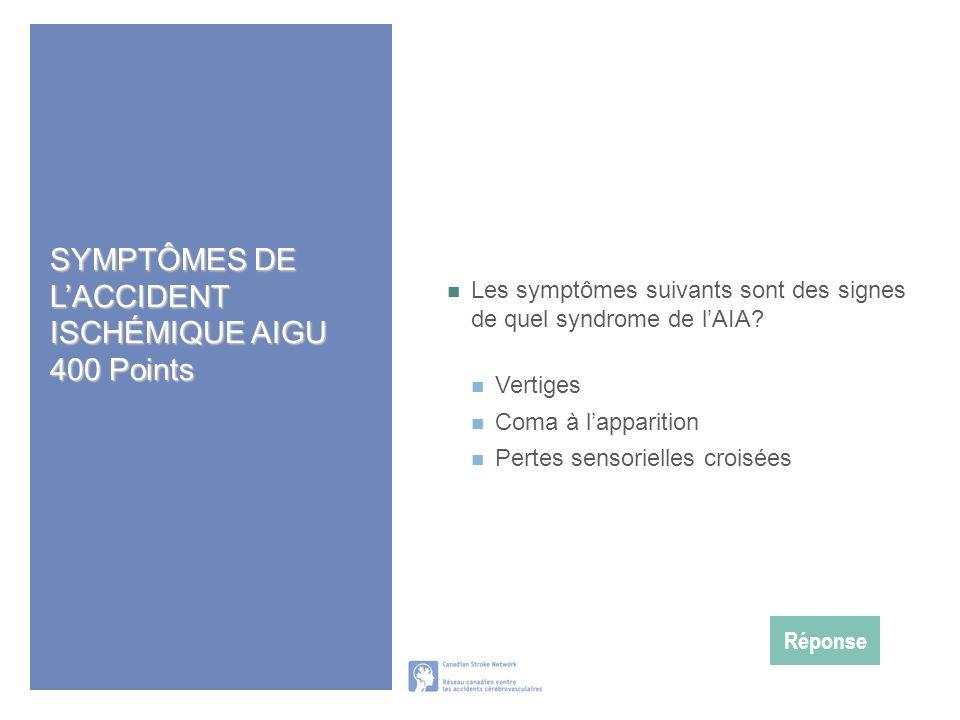 SYMPTÔMES DE L'ACCIDENT ISCHÉMIQUE AIGU 400 Points