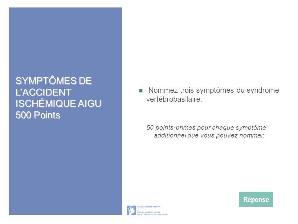 SYMPTÔMES DE L'ACCIDENT ISCHÉMIQUE AIGU 500 Points