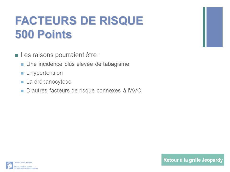 FACTEURS DE RISQUE 500 Points