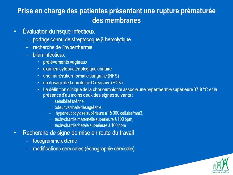Prise en charge des patientes présentant une rupture prématurée des membranes