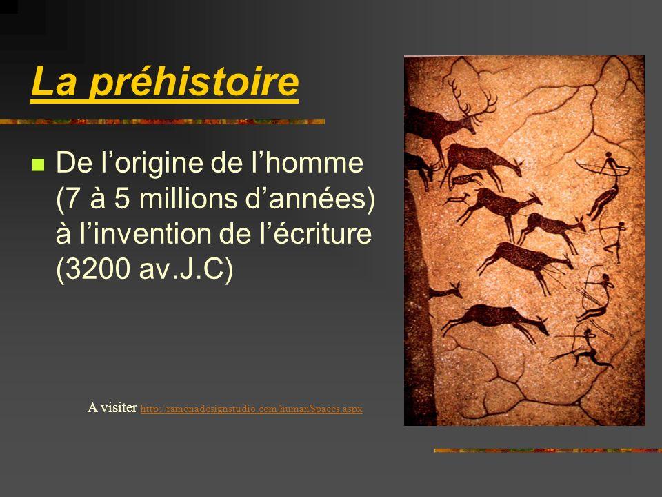 La préhistoire De l'origine de l'homme (7 à 5 millions d'années) à l'invention de l'écriture (3200 av.J.C)