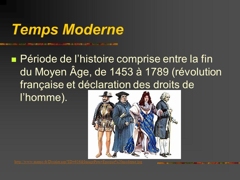 Temps Moderne Période de l'histoire comprise entre la fin du Moyen Âge, de 1453 à 1789 (révolution française et déclaration des droits de l'homme).