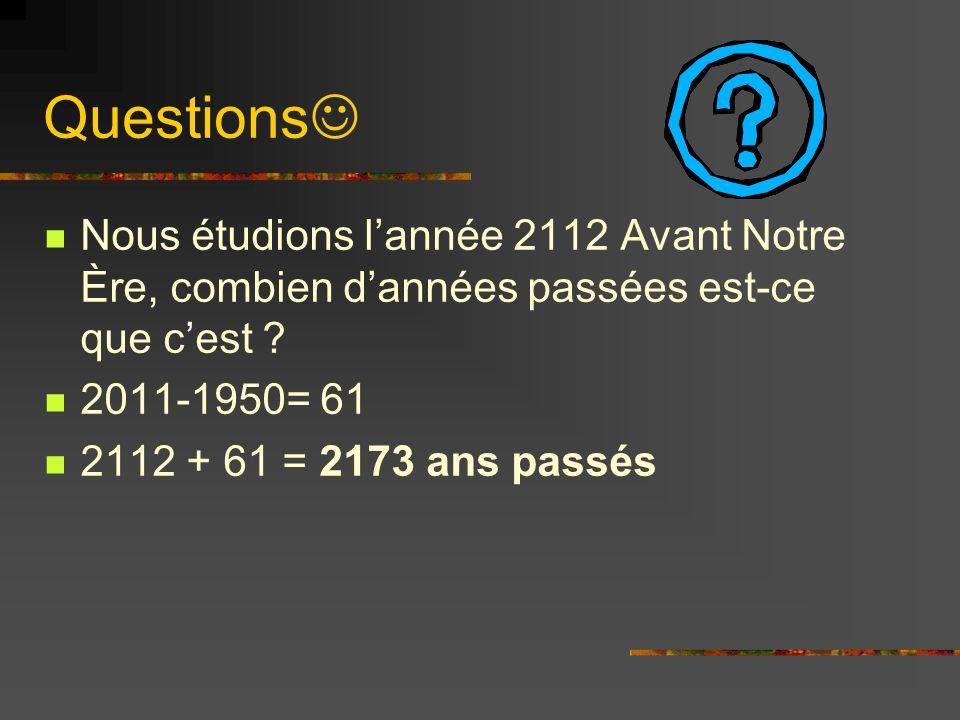Questions Nous étudions l'année 2112 Avant Notre Ère, combien d'années passées est-ce que c'est 2011-1950= 61.