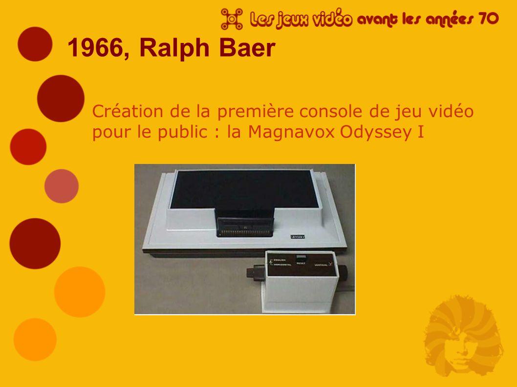 1966, Ralph Baer Création de la première console de jeu vidéo pour le public : la Magnavox Odyssey I.