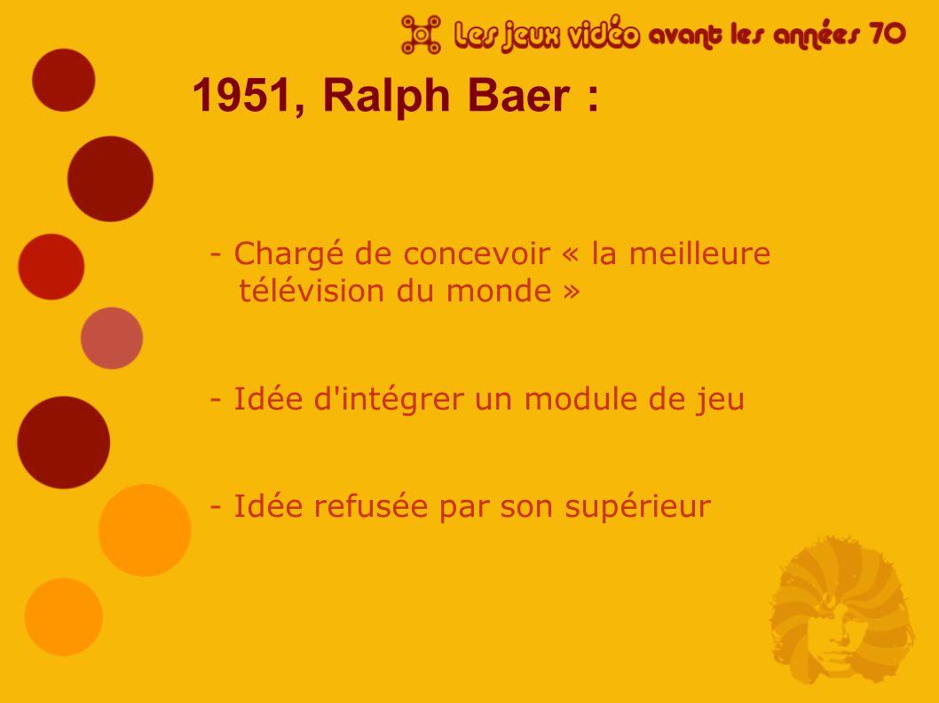 1951, Ralph Baer : - Chargé de concevoir « la meilleure télévision du monde » - Idée d intégrer un module de jeu.