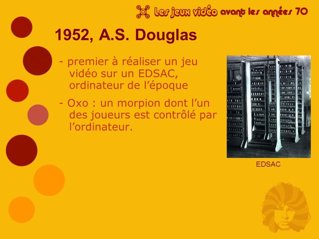 1952, A.S. Douglas - premier à réaliser un jeu vidéo sur un EDSAC, ordinateur de l'époque.