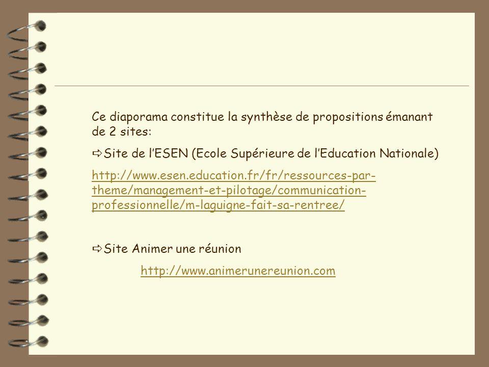 Ce diaporama constitue la synthèse de propositions émanant de 2 sites: