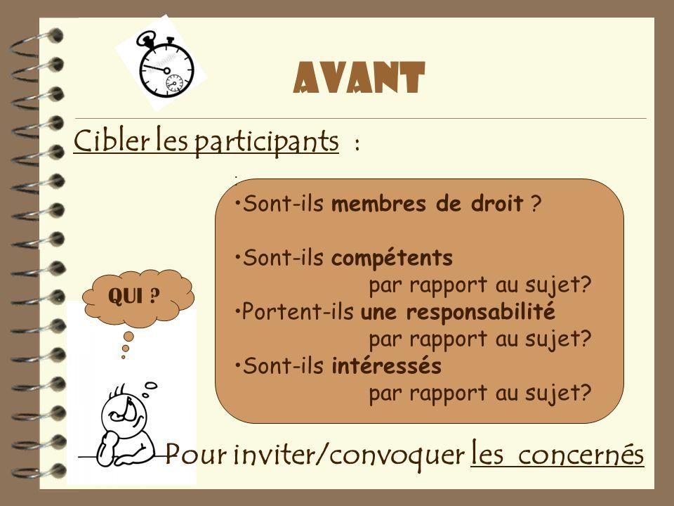 avant Cibler les participants : Pour inviter/convoquer les concernés