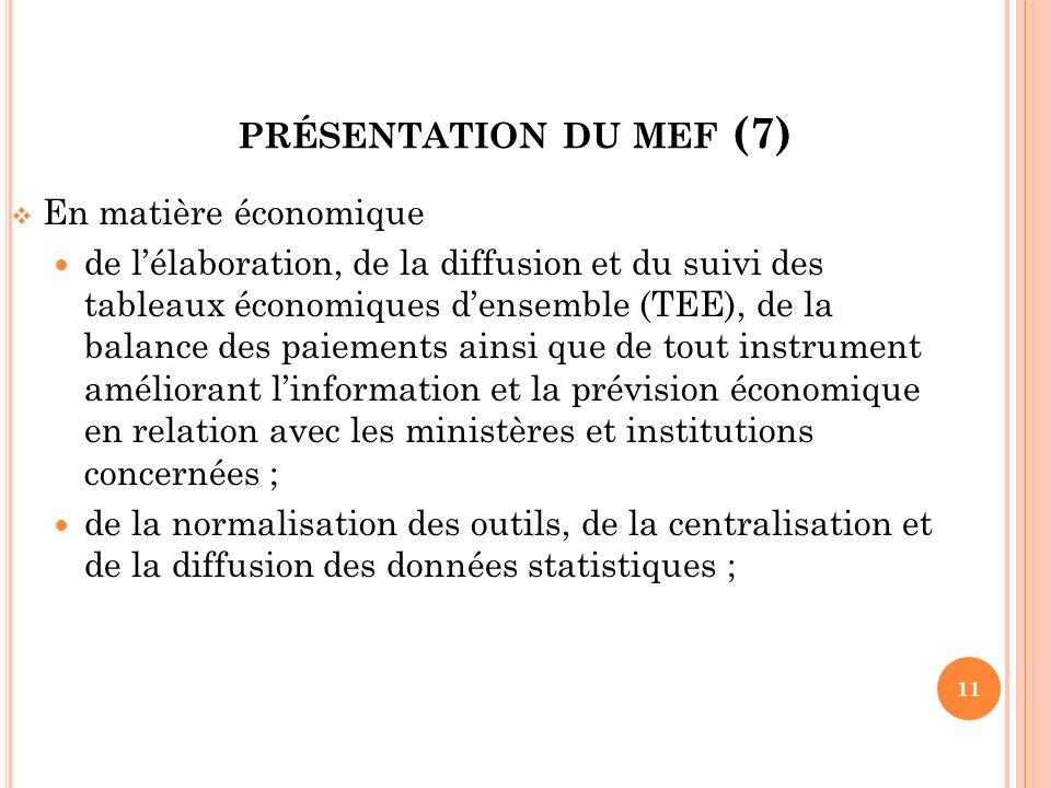 présentation du mef (7) En matière économique