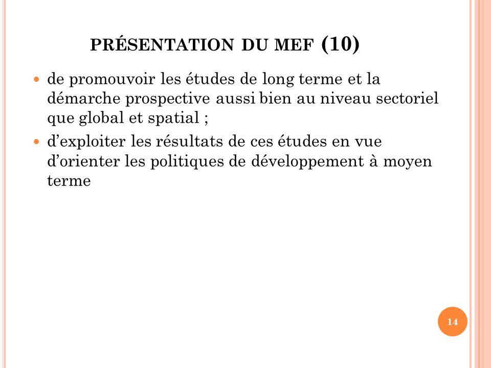 présentation du mef (10) de promouvoir les études de long terme et la démarche prospective aussi bien au niveau sectoriel que global et spatial ;