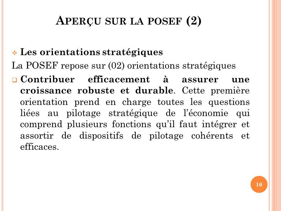 Aperçu sur la posef (2) Les orientations stratégiques