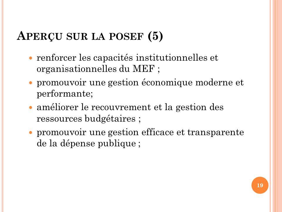 Aperçu sur la posef (5) renforcer les capacités institutionnelles et organisationnelles du MEF ;