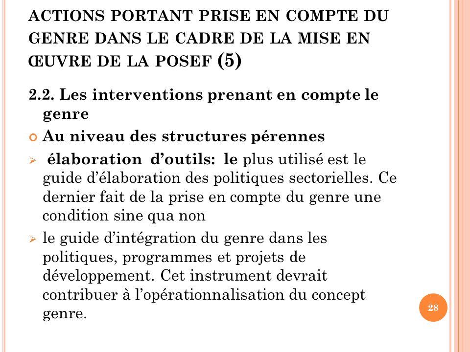 actions portant prise en compte du genre dans le cadre de la mise en œuvre de la posef (5)
