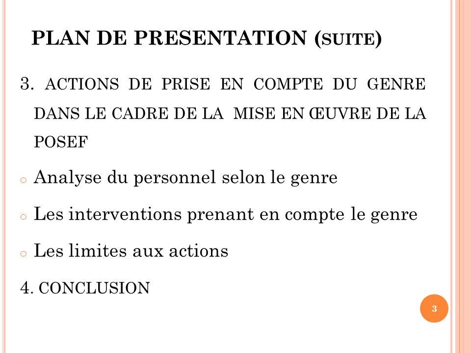 PLAN DE PRESENTATION (suite)