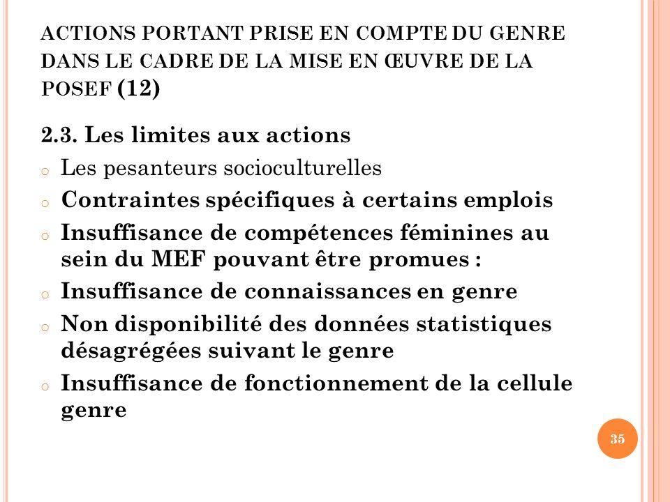 actions portant prise en compte du genre dans le cadre de la mise en œuvre de la posef (12)