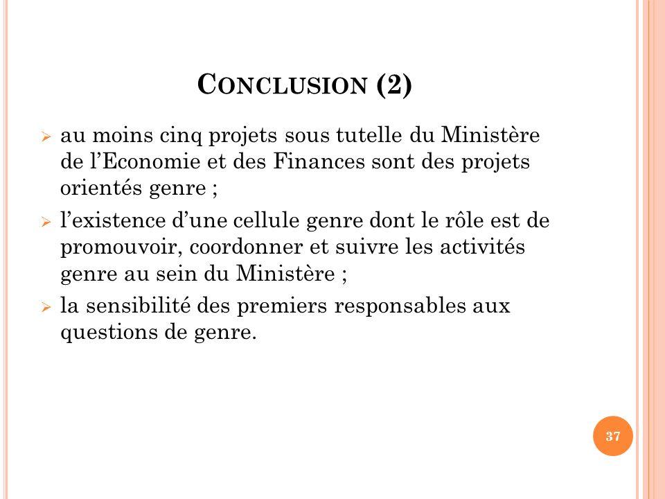 Conclusion (2) au moins cinq projets sous tutelle du Ministère de l'Economie et des Finances sont des projets orientés genre ;