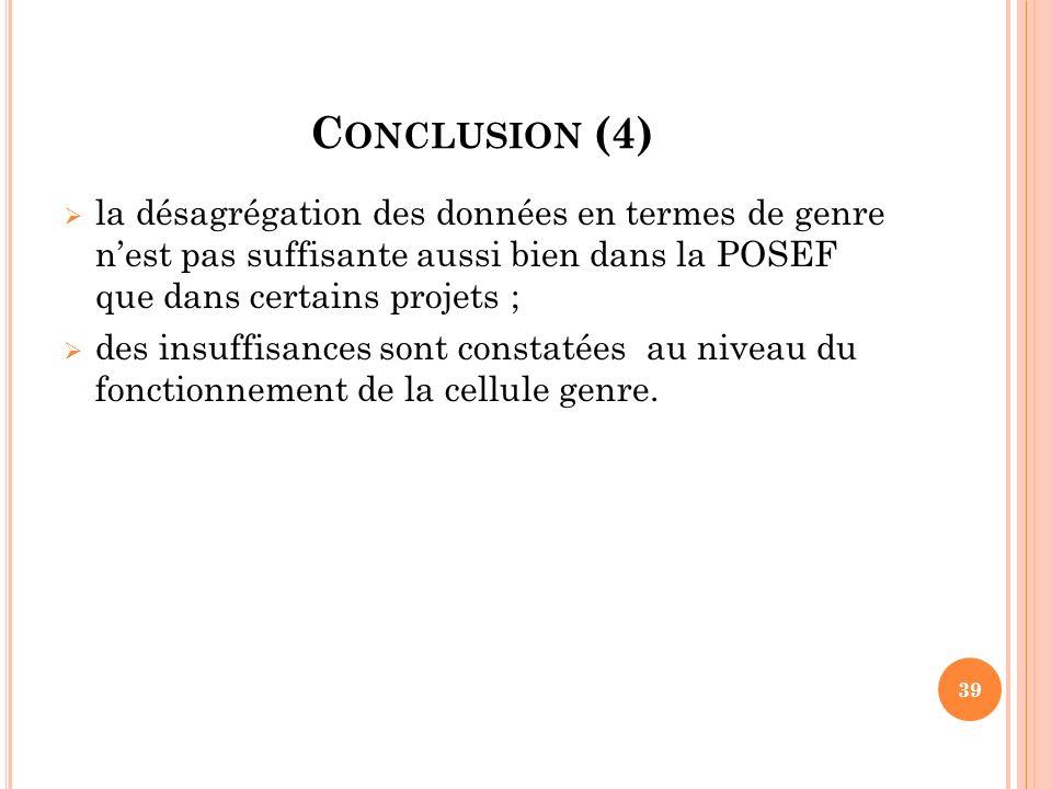 Conclusion (4) la désagrégation des données en termes de genre n'est pas suffisante aussi bien dans la POSEF que dans certains projets ;