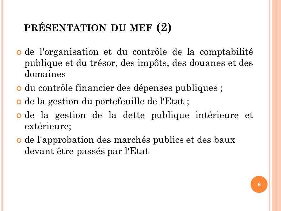 présentation du mef (2) de l organisation et du contrôle de la comptabilité publique et du trésor, des impôts, des douanes et des domaines.