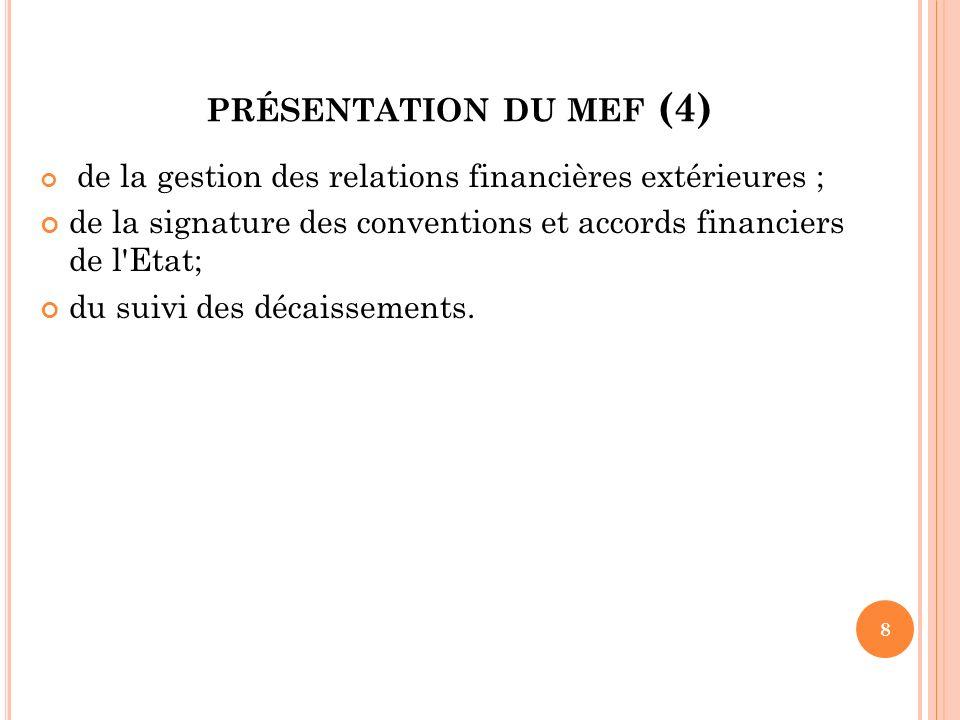 présentation du mef (4) de la gestion des relations financières extérieures ; de la signature des conventions et accords financiers de l Etat;