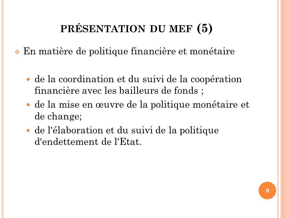 présentation du mef (5) En matière de politique financière et monétaire.