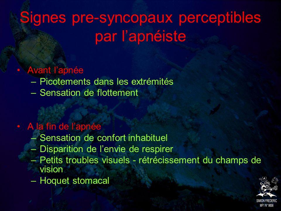 Signes pre-syncopaux perceptibles par l'apnéiste
