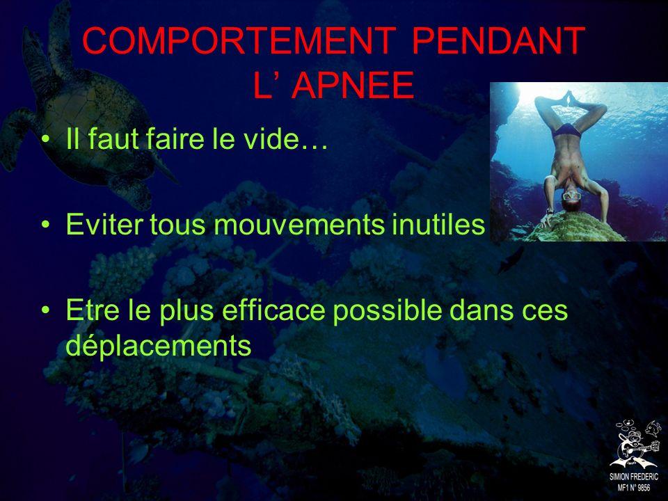 COMPORTEMENT PENDANT L' APNEE