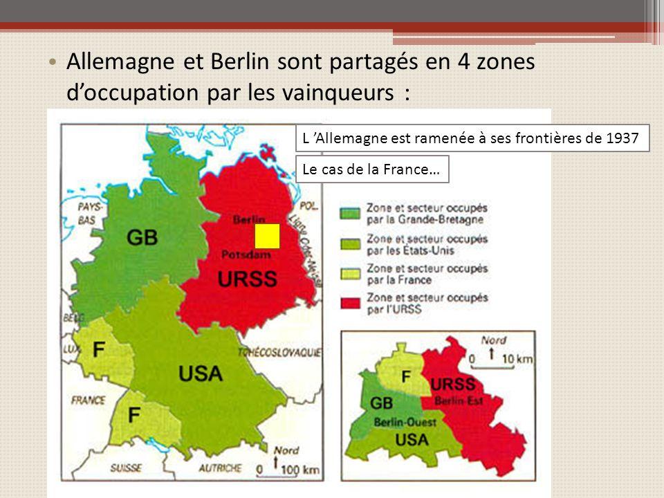 Allemagne et Berlin sont partagés en 4 zones d'occupation par les vainqueurs :