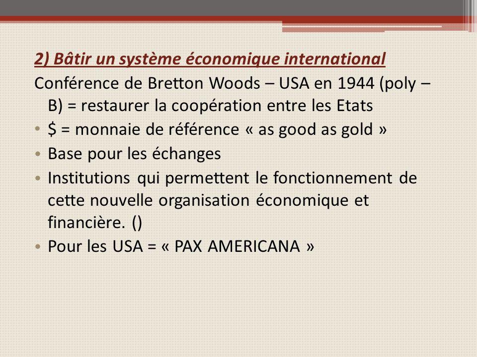 2) Bâtir un système économique international