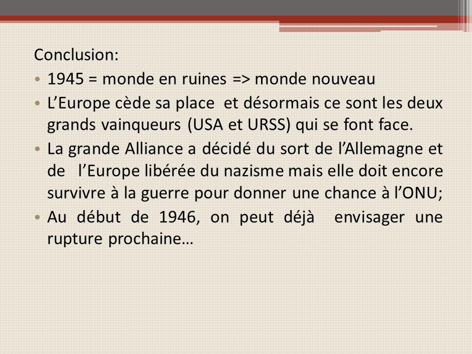 Conclusion: 1945 = monde en ruines => monde nouveau.